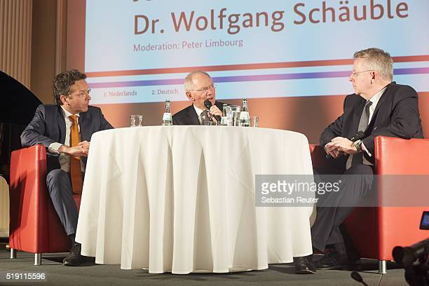 Dutch Minister of Finance Jeroen Dijsselbloem german Federal Minister of Finance Wolfgang Schaeuble and journalist Peter Limbourg talk on stage at...