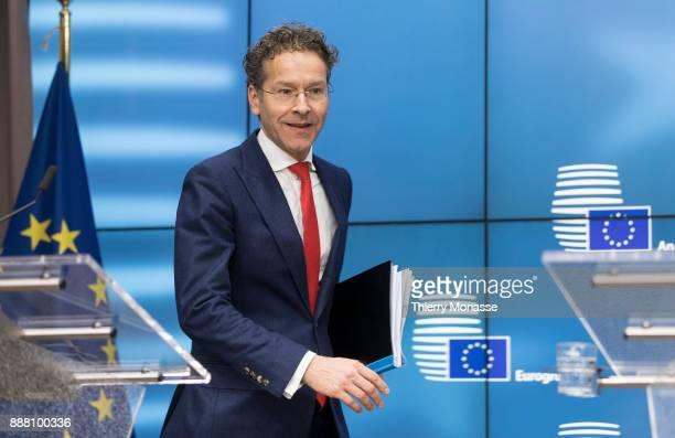 Dutch Minister of Finance President of the Council Jeroen Dijsselbloem is talking to media after the nomination of the new President of the u20ac...