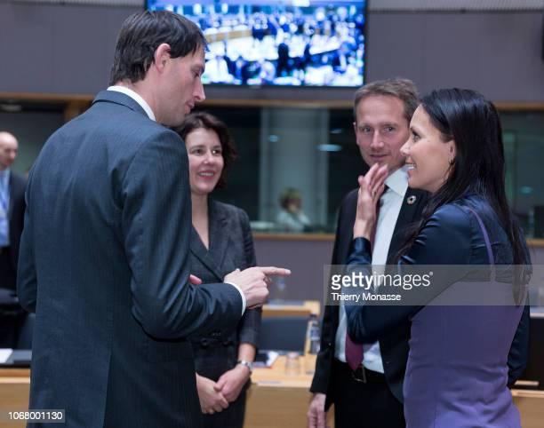 Dutch Minister of Finance Wopke Hoekstra is talking wit the Latvian Finance Minister Dana ReiznieceOzola the Danish Minister for finance Kristian...