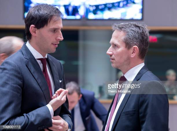 Dutch Minister of Finance Wopke Hoekstra is talking with the Danish Minister for finance Kristian Jensen prior to an extended Eurogroup Minister's...