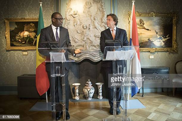 Dutch Minister of Foreign Affairs Bert Koenders hold a joint press conference with his Malian counterpart Abdoulaye Diop in The Hague on October 24...