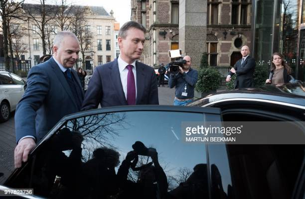 Dutch Minister of Foreign Affairs Halbe Zijlstra leaves the Dutch parliament Tweede Kamer after he announced his resignation in The Hague on February...