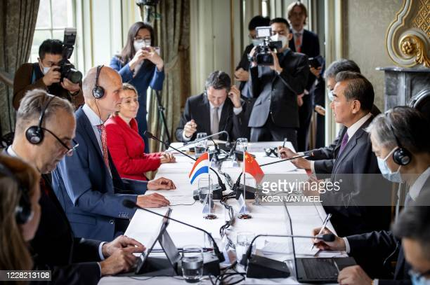 Dutch Minister of Foreign Affairs Stef Blok attends a meeting with his Chinese counterpart Wang Yi at Duivenvoorde Castle in Voorschoten the...