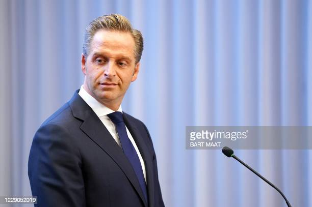 Dutch Minister of Health, Welfare and Sport Hugo de Jonge holds a press conference with the prime minister on new measures taken to tackle the spread...