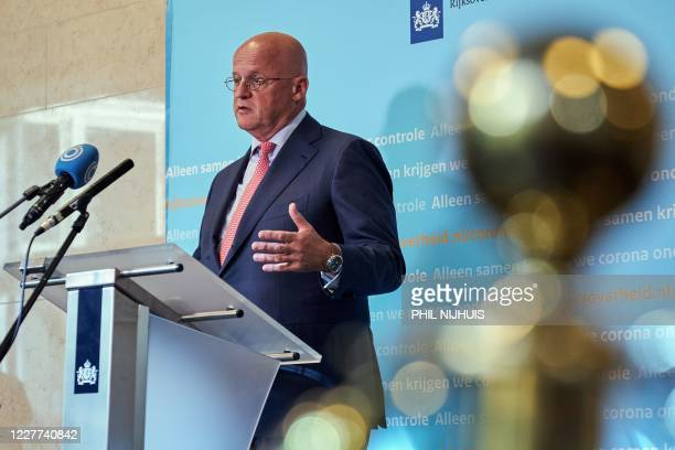 Dutch Minister of Justice and Security Ferdinand Grapperhaus speaks to the press about the existing novel coronavirus measures, in The Hague on July...