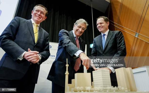 Dutch Minister of Medical Healthcare and Sport Bruno Bruins CEO of the European Medicines Agency Guido Rasi and deputy mayor of Amsterdam Udo Kock...