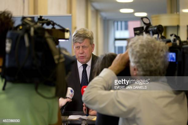 Dutch Minister of Security and Justice Ivo Opstelten speaks during a press conference regarding Malaysia Airlines flight MH17 which crashed in...