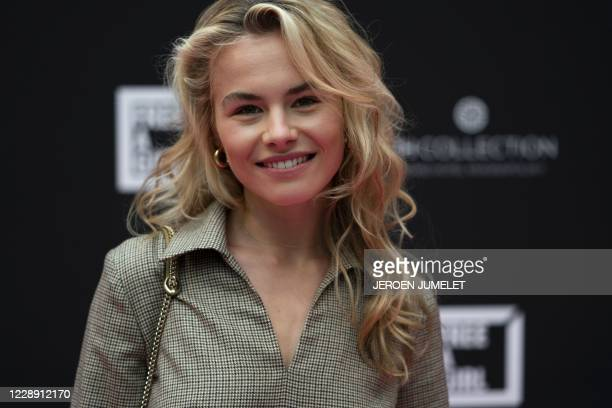 Dutch model and influencer AnneKee Molenaar arrives at the Krasnapolsky Hotel to present her commitment to the organization Free A Girl, in Amsterdam...
