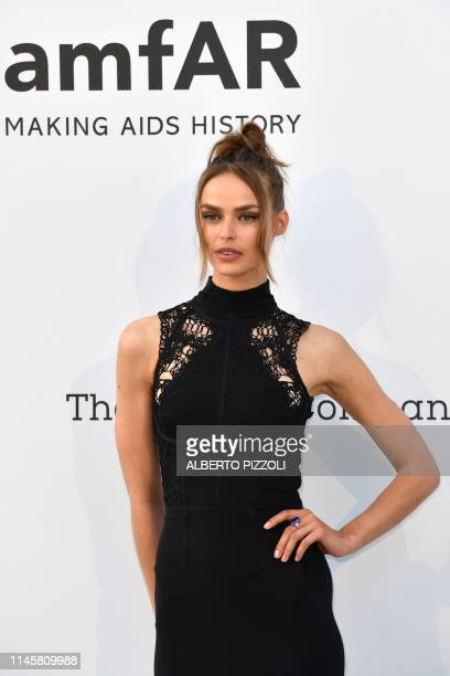Dutch model Birgit Kos arrives on May 23 2019 at the amfAR 26th Annual Cinema Against AIDS gala at the Hotel du CapEdenRoc in Cap d'Antibes southern...