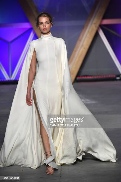 Dutch model Daphne Groeneveld models on May 13, 2018 during the Fashion For Relief Cannes 2018 event on the sidelines of the 71st edition of the...