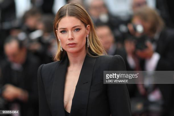 Dutch model Doutzen Kroes poses as she arrives on May 15 2018 for the screening of the film 'Solo A Star Wars Story' at the 71st edition of the...