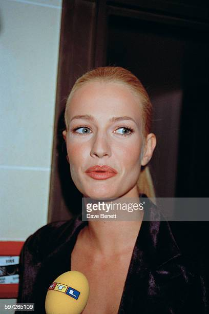 Dutch model Karen Mulder gives an interview to RTL radio at the Gianni Versace Haute Couture Summer 1996 launch at the Hotel Ritz Paris France 20th...