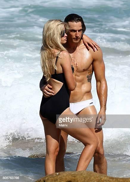 Dutch model Lara Stone sighted during a Mario Testino photoshoot on Bondi Beach on January 20 2016 in Sydney Australia