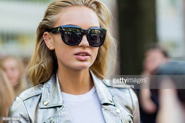 Dutch model Romee Strijd outside Fendi during Milan Fashion Week Spring/Summer 2017 on September 22 2016 in Milan Italy