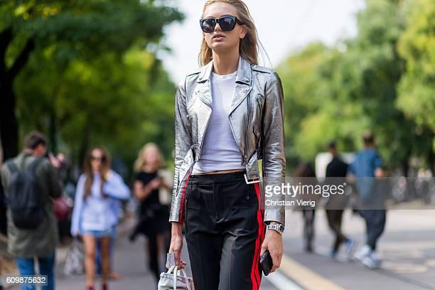 Dutch model Romee Strijd outside Fendi during Milan Fashion Week Spring/Summer 2017 on September 22 2016 in Milan Italy