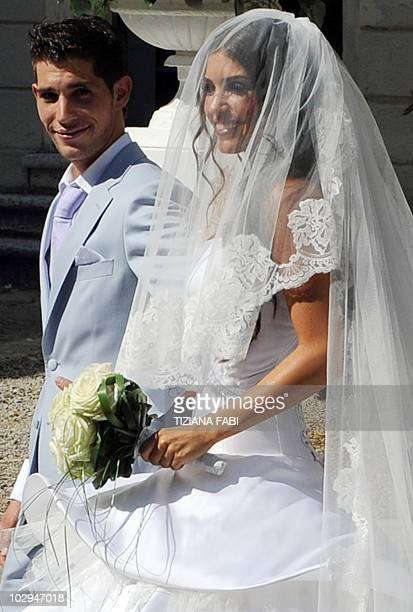Dutch model Yolanthe Cabau van Kasbergen arrives in Castelnuovo Berardegna near Siena on July 17, 2010 to marry Inter-Milan's Dutch football player...