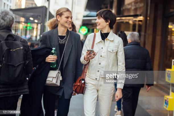 Dutch models Deirdre Firinne and Ilya Vermeuelen after the Philosophy di Lorenzo Serafini show during Milan Fashion Week Fall/Winter 2020-2021 on...