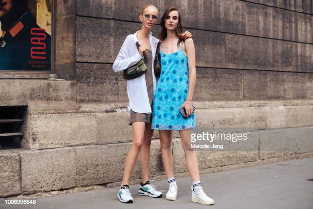 Dutch models Jessie Bloemendaal Estella Brons after Elie Saab during Couture Fall/Winter 2018 Fashion Week on July 4 2018 in Paris France Jessie...