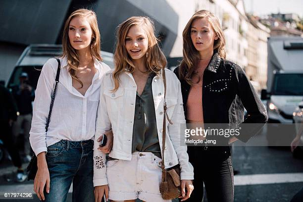 Dutch models Susanne Knipper Annika Krijt Lauren de Graaf after the Ermanno Scervino show during Milan Fashion Week Spring/Summer 2017 on September...
