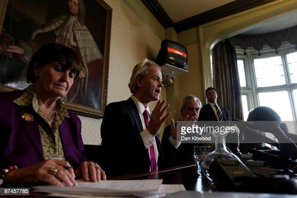 Dutch MP Geert Wilders Baroness Cox and Leader of UKIP Lord Pearson of Rannoch speak during a press conference at 1 Abbey Gardens on February 05 2010...