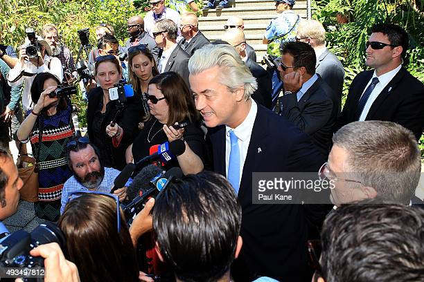 Dutch MP Geert Wilders talks to the media during a press conference outside the Western Australian Parliament House on October 21 2015 in Perth...