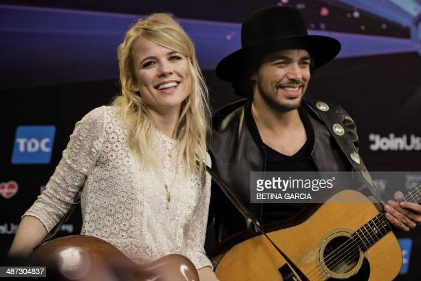 Dutch musicians Ilse DeLange and Waylon of the band 'The Common Linnets' pose for photographers during a press conference in Copenhagen on April 29...