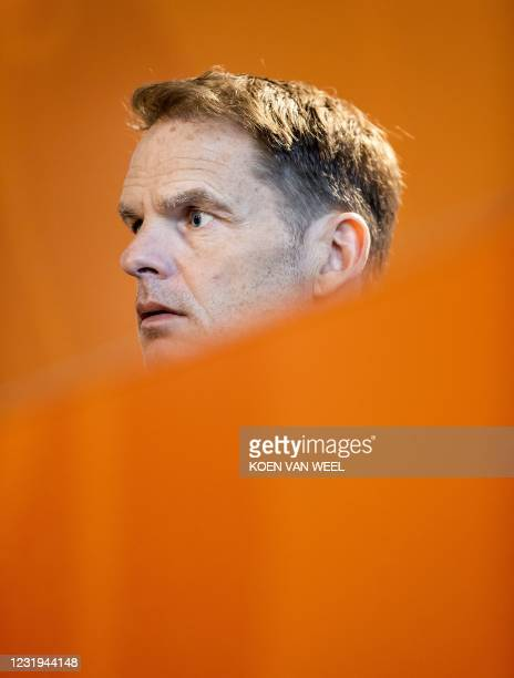 Dutch national coach of Neatherlands football team Frank de Boer gives a press conference in Zeist, in the run-up to the World Cup qualifying match...