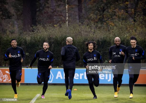 Dutch national football team attend a training session in Zeist, the Netherlands, on November 10 on the eve of the international friendly football...