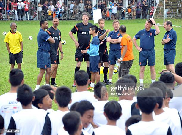 Dutch national football team coach Louis Van Gaal former Dutch players Ruud Gullit and Patrick Kluifer Indonesia national football team captain...
