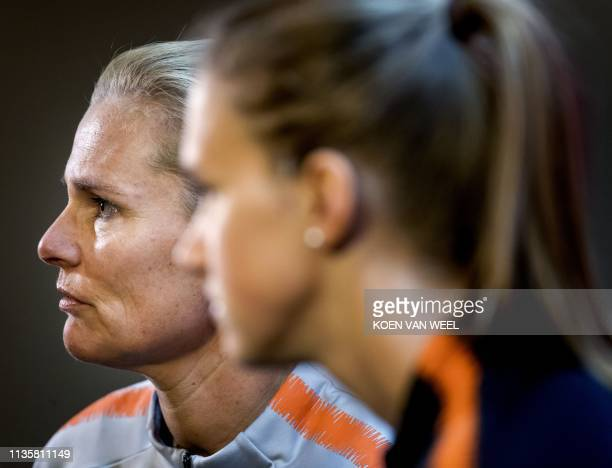 Dutch national football team's head coach Sarina Wiegman gives apress conference in Alkmaar, The Netherlands, on April 8, 2019 on the eve of their...