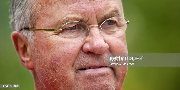 Dutch national soccer team head coach Guus Hiddink is pictured during his team's training session in Hoenderloo on May 26 2015 The team is preparing...