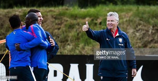 Dutch national soccer team head coach Guus Hiddink leads the team's training session in Hoenderloo on May 28 2015 The team is preparing for the...