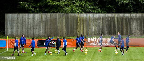 Dutch national soccer team's players attend a training session in Hoenderloo on May 28 2015 The team is preparing for the friendly match against the...
