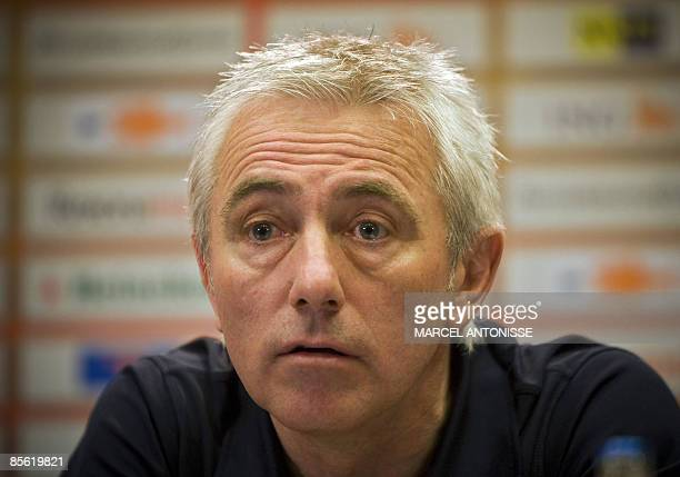 Dutch national team soccer coach Bert van Marwijk gives a press conference on March 26 2009 ahead of next Saturday's football match against Scotland...