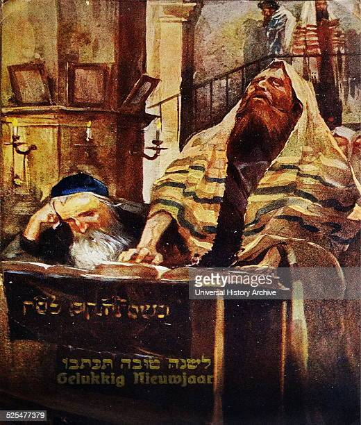 Dutch New Year Card showing a rabbi in a synagogue He is wearing a traditional prayer shawl c 1900