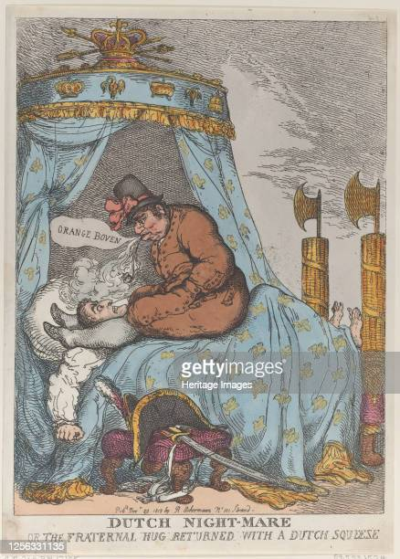 Dutch NightMare or the Fraternal Hug Returned with a Dutch Squeeze November 30 1813 Artist Thomas Rowlandson