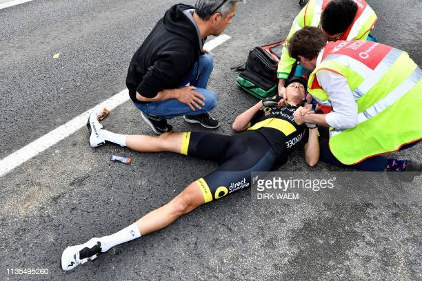 Dutch Niki Terpstra of Direct Energie lies on the ground after falling during the 103rd edition of the 'Ronde van Vlaanderen - Tour des Flandres -...