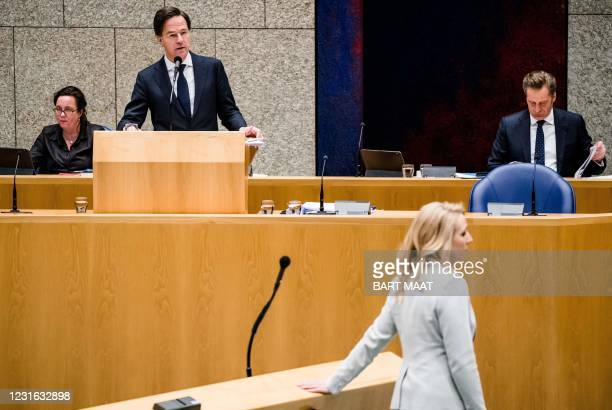 Dutch outgoing Minister for Medical Care Tamara van Ark , outgoing Prime Minister Mark Rutte, outgoing Minister of Health, Welfare and Sport Hugo de...
