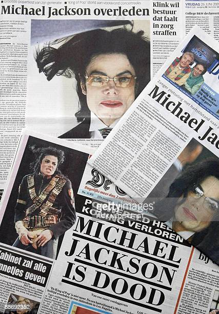 Dutch papers open with the death of US pop star Michael Jackson on June 26 2009 in Baarn Michael Jackson died on June 25 2009 after suffering a...