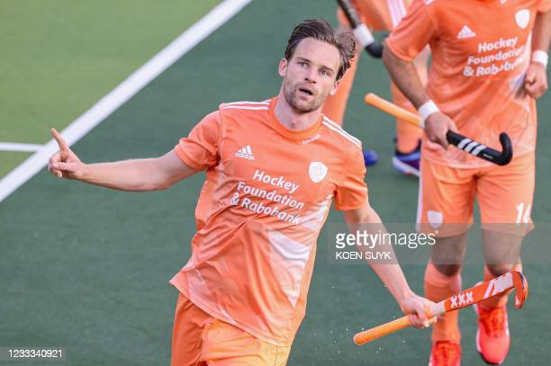 Dutch player Mirco Pruijser celebrates the 4-0 score during the European Hockey Championship match between the Netherlands and Wales at the Wagener...
