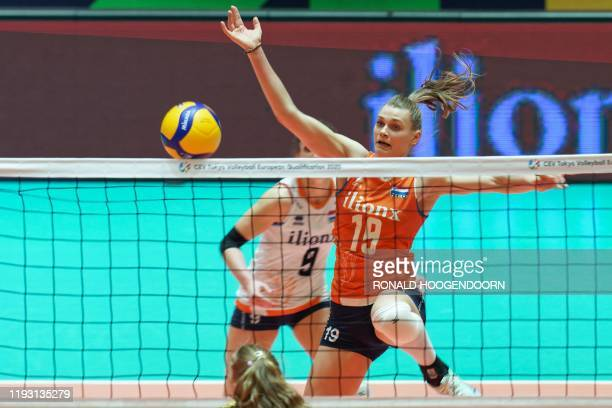 Dutch player Nika Daalderop in action during the women's semifinal at Tokyo 2020 Volleyball Qualification match against Germany in Apeldoorn on...