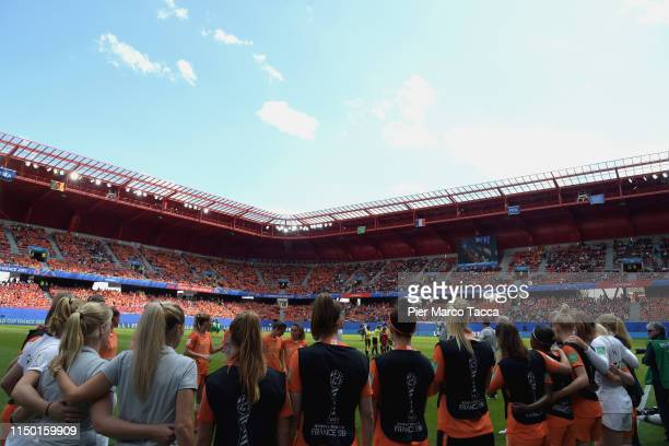 Dutch players hug before the 2019 FIFA Women's World Cup France group E match between Netherlands and Cameroon at Stade du Hainaut on June 15 2019 in...