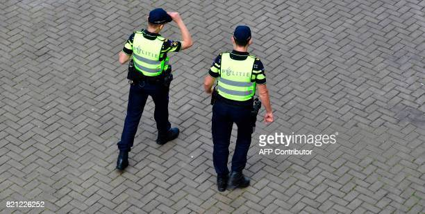 Dutch police patrols next to the venue prior to the start of the UEFA Women's Euro 2017 football tournament between Scotland and Portugal at the...