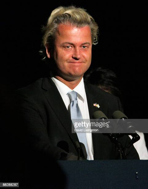 Dutch politician and Party for Freedom chairman Geert Wilders appears on stage at the American Freedom Alliance's Heroes of Conscience Dinner at the...