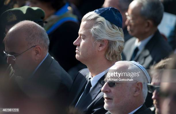 Dutch politician Geert Wilders attends the state memorial service for Israel's former Prime Minister Ariel Sharon at Israel's parliament the Knesset...