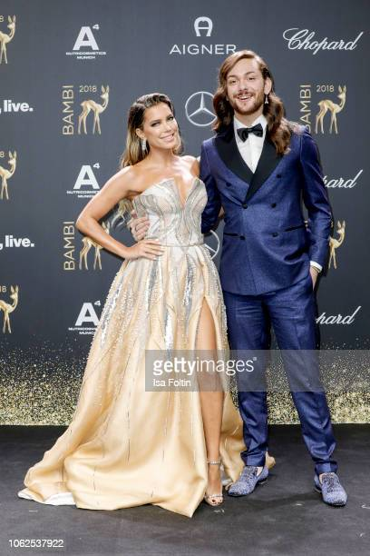 Dutch presenter Sylvie Meis and influencer Riccardo Simonetti attend the 70th Bambi Awards at Stage Theater on November 16, 2018 in Berlin, Germany.