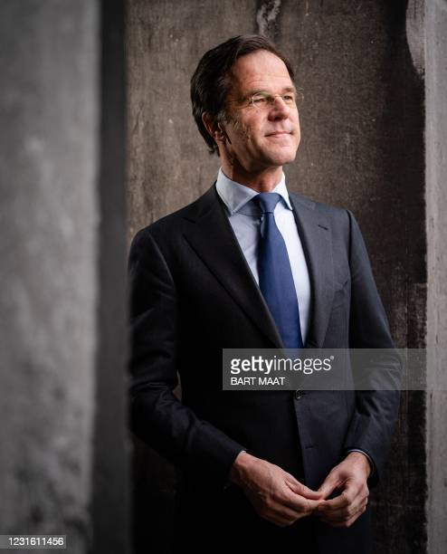 Dutch prime minister and party leader of the conservative liberal party VVD Mark Rutte poses on March 9, 2021 in The Hague. - Netherlands OUT /...