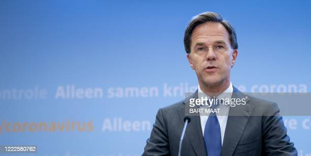 Dutch Prime Minister Mark Rutte addresses a press conference after a consultation of the Ministerial Crisis Management Committee on the coronavirus...
