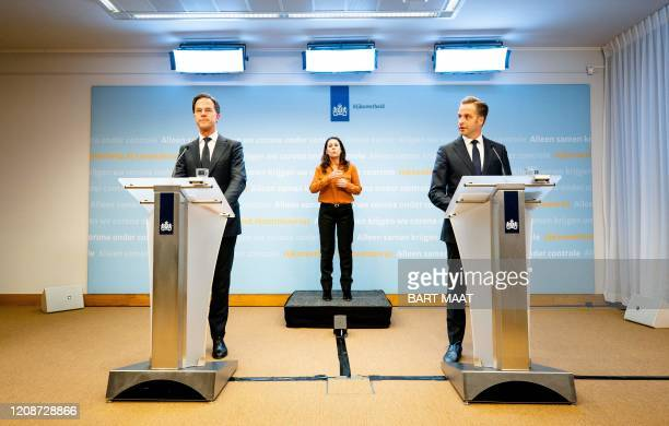 Dutch Prime Minister Mark Rutte and Dutch Minister of Health Hugo de Jonge speak during a press conference following a cabinet meeting of the...