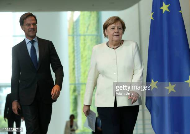 Dutch Prime Minister Mark Rutte and German Chancellor Angela Merkel hold a news conference at the German federal Chancellery on July 09 2020 in...